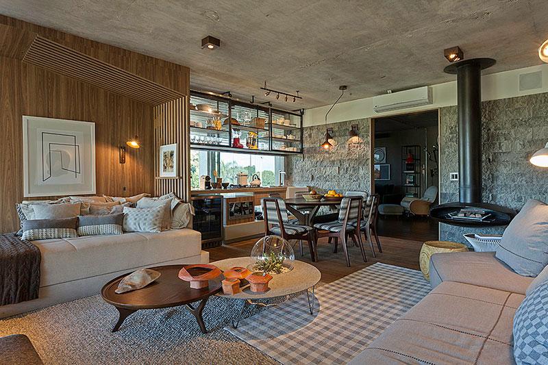 decoração-de-living-com-cozinha-integrada